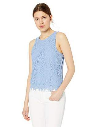 My Michelle Leighton By Junior's womens Lace Overlay Sleeveless Top with Knit Back