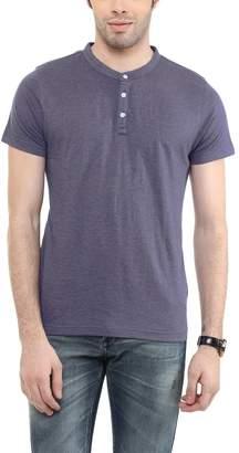 American Crew Men's Henley Half Sleeve Solid T-Shirt - L (ACHN48-L)