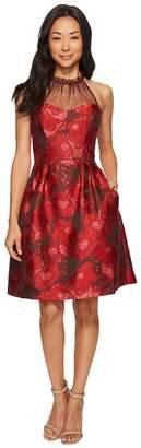 Maggy London Poppy Jacquard Halter Fit Flare Dress Women's Dress