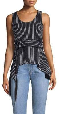 Derek Lam 10 Crosby Belted Stripe Tank Top