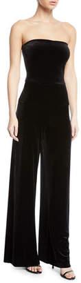 Norma Kamali Strapless Velvet Wide-Leg Jumpsuit