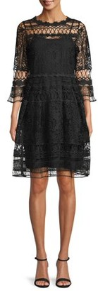 Anna Sui Sui By Women's Lover's Lace Dress with Black Slip