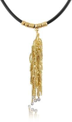 Orlando Orlandini Flirt - Diamond Drops 18K Yellow Gold Thread Pendant w/Rubber Lace