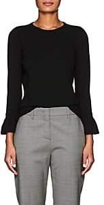 Barneys New York Women's Flounce-Cuff Compact Knit Sweater-Black
