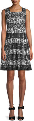 Karl Lagerfeld Floral-Lace Flare Dress