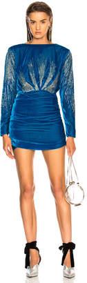 ATTICO Carolina Embroidered Velvet Dress in Blue | FWRD