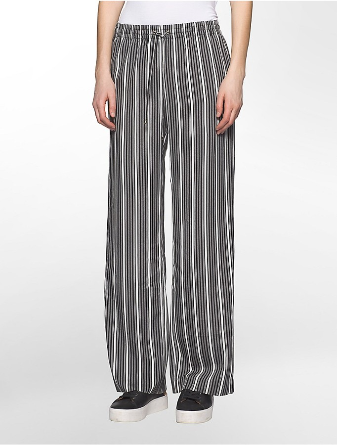Calvin Klein Striped Wide Leg Pants