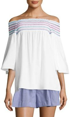 Parker Yasmin Embroidered Off-The-Shoulder Blouse $168 thestylecure.com