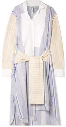 Loewe Tie-front Striped Cotton And Ramie-blend Midi Dress - Blue