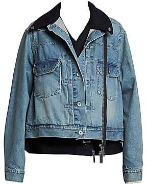Sacai Women's Layered Denim Moto Jacket
