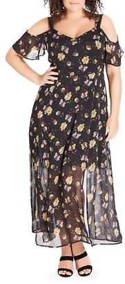 City Chic Plus Nouveau Floral Cold-Shoulder Maxi Dress