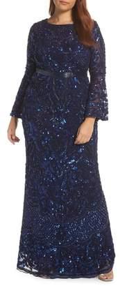 Mac Duggal Sequin Bell Sleeve Gown