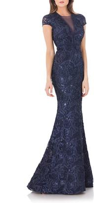 Carmen Marc Valvo Embellished Soutache Mermaid Gown
