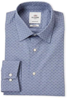 Ben Sherman Royal Diamond Print Stretch Slim Fit Dress Shirt