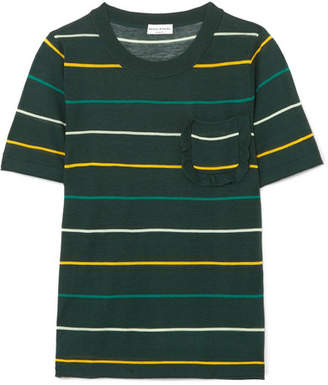Sonia Rykiel Ruffle-trimmed Striped Silk And Cotton-blend Top - Dark green