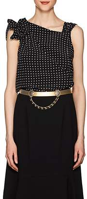 Mayle Maison Women's Lace-Detailed Polka Dot Silk Blouse