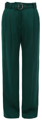 Sies Marjan Blanche Topstitched Wool Wide Leg Trousers - Womens - Dark Green