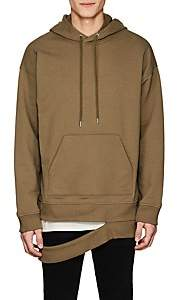 Helmut Lang MEN'S HANGING-HEM COTTON-BLEND TERRY HOODIE-GREEN SIZE XL