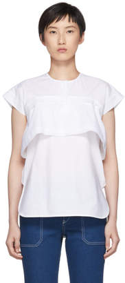 Carven White Poplin Double Layered Blouse