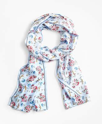 Brooks Brothers Floral-Print Silk-Blend Scarf