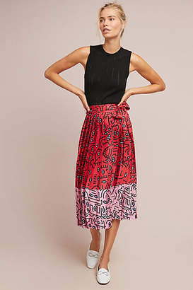 Delfi Two-Toned Pleated Skirt
