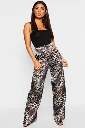 boohoo Leopard Print Satin Drawstring Wide Leg Trouser