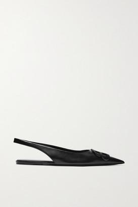 Balenciaga Knife Logo-embellished Leather Point-toe Flats - Black