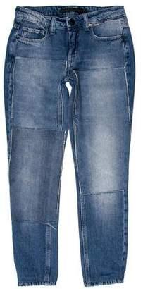 Victoria Beckham Distressed Mid-Rise Jeans