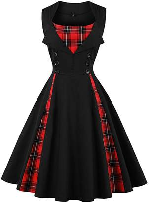 Christian Louboutin Women Vintage 50s Style Plaid Cocktail Rockabilly Swing Dress