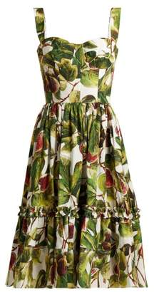 Dolce & Gabbana Fig Print Cotton Bustier Dress - Womens - White Multi