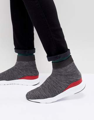 Kurt Geiger London Knitted Flexor Sneaker In Grey