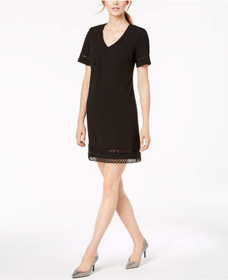 Calvin Klein Embroidered Cutout A-Line Dress