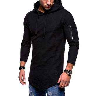 2bfada08 Hunzed Men【Zipper Wing Pattern Hoodie Long Sleeve Sport Sweatshirt 】 Mens  Fashion Casual Slim Pullover Solid ...