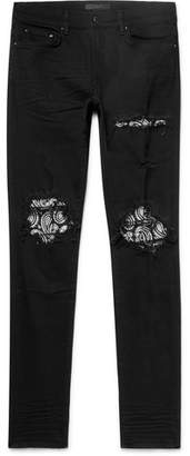 Amiri Skinny-Fit Crystal-Embellished Panelled Distressed Stretch-Denim Jeans