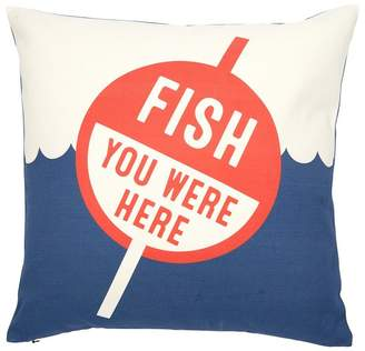 """Indigo PILLOW COVER EXPRESSIONS FISH YOU WERE HERE 18"""" X 18"""""""