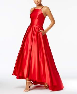 Betsy & Adam High-Low Satin Gown