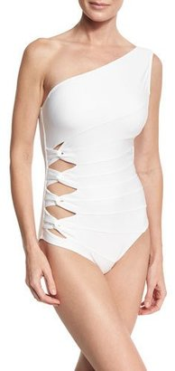 Carmen Marc Valvo Classic Weave One-Shoulder One-Piece Swimsuit, White $120 thestylecure.com