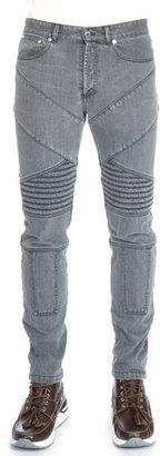 Givenchy Slim-Fit Moto Denim Jeans, Gray $1,050 thestylecure.com