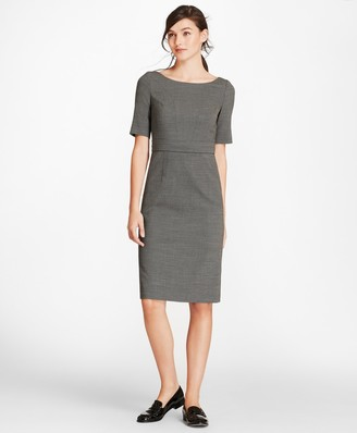Brooks Brothers Bird's-Eye Stretch-Wool Sheath Dress