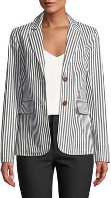Derek Lam 10 Crosby Striped Single-Breasted Cotton Blazer