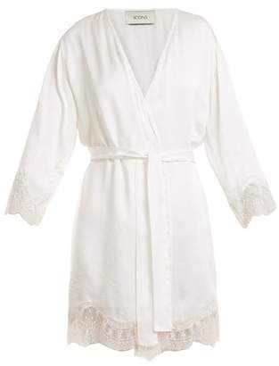 Icons - Lily Lace Trimmed Silk Satin Kimono - Womens - White