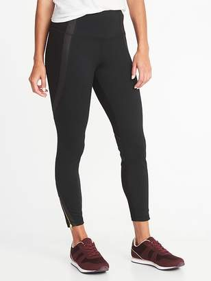 Old Navy High-Rise 7/8-Length Ponte-Knit Ankle-Zip Street Leggings for Women