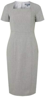 Dorothy Perkins Tall Grey Checked Textured Square Neck Pencil Dress