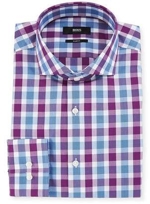 BOSS Men's Slim Fit Tattersall Cotton Dress Shirt
