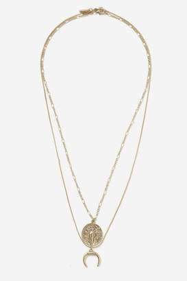 Topshop Coin and Horn Two Row Necklace