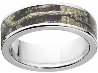 Mossy Oak Break Up Infinity Men's Camo 7mm Stainless Steel Wedding Band with Cross Brushed Edges and Deluxe Comfort Fit