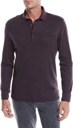 Ermenegildo Zegna Men's Long-Sleeve Polo with Leather Detail