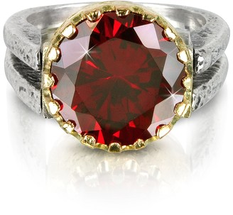 Tryò Red Cubic Zirconia Sterling Silver & Rose Gold Reversible Ring