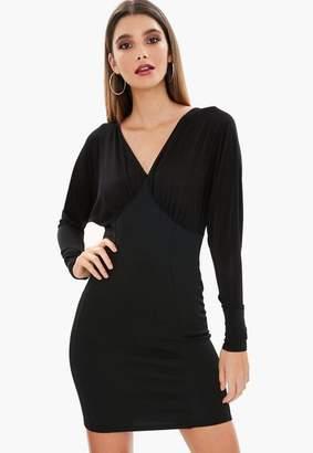 Missguided Black Scuba Batwing Mini Dress, Black