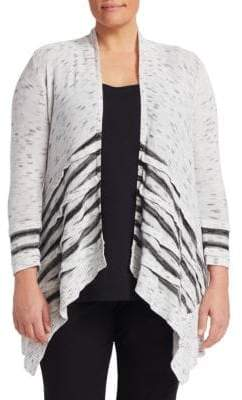Nic+Zoe Plus Striped Open-Front Cardigan